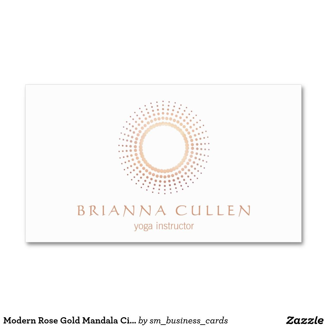 Modern Rose Gold Mandala Circle Logo White Business Card Great Design For Yoga And
