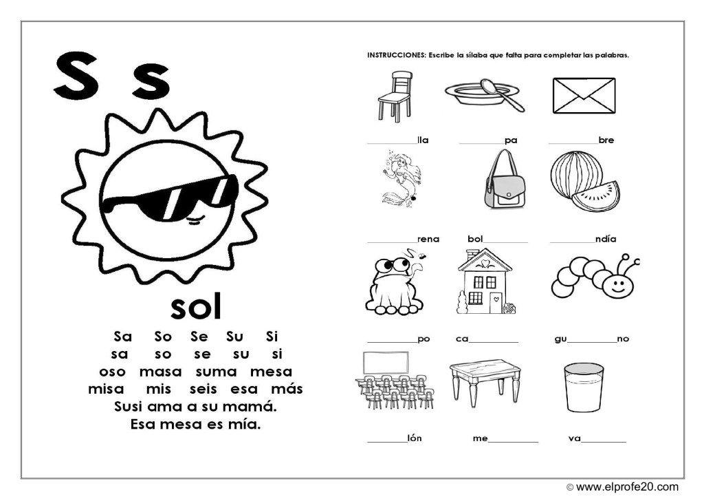 Magnífico Cuaderno De Lectura Imagenes Educativas Lectura Y Escritura Actividades Con La Letra S Actividades De Letras