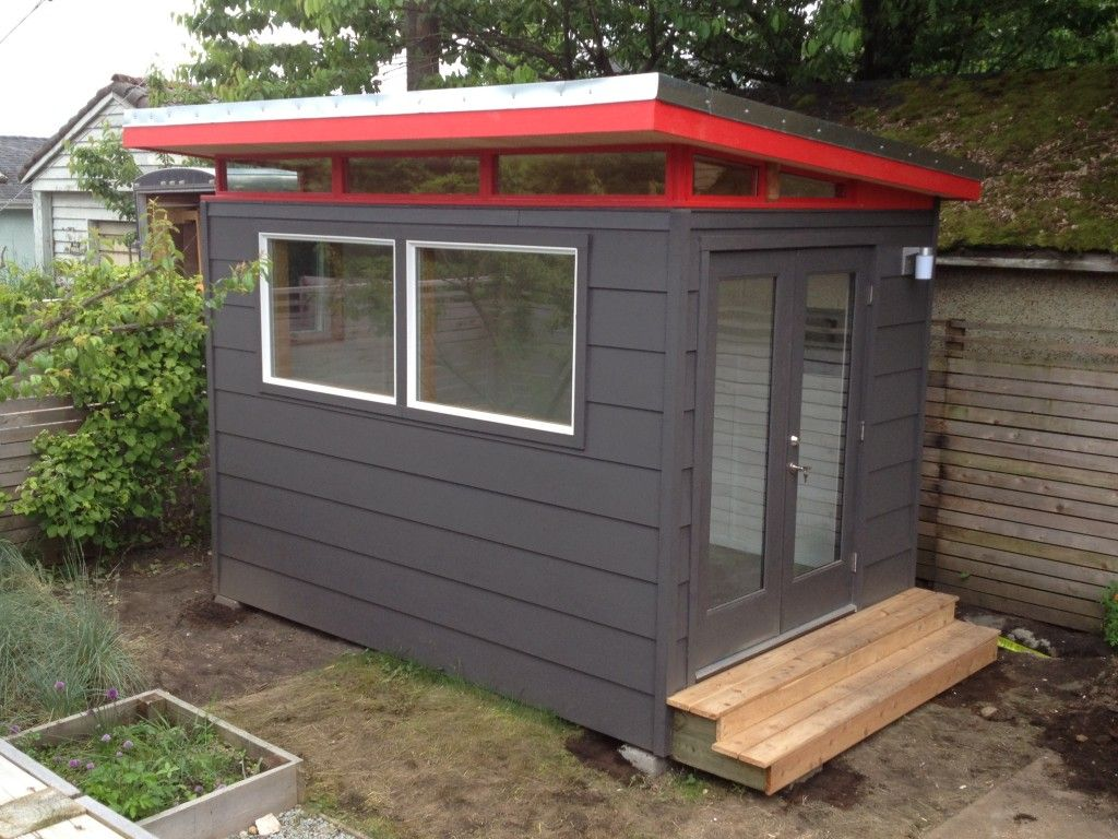 Beau Stunning Prefab Shed Kit With Backyard Office Shed, And Black Painted  Wooden Wall Design.