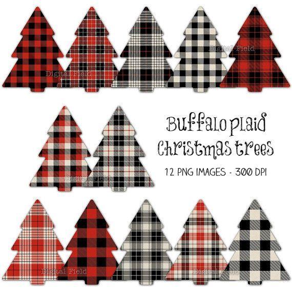 Buffalo plaid Christmas tree clip art set - red black ...