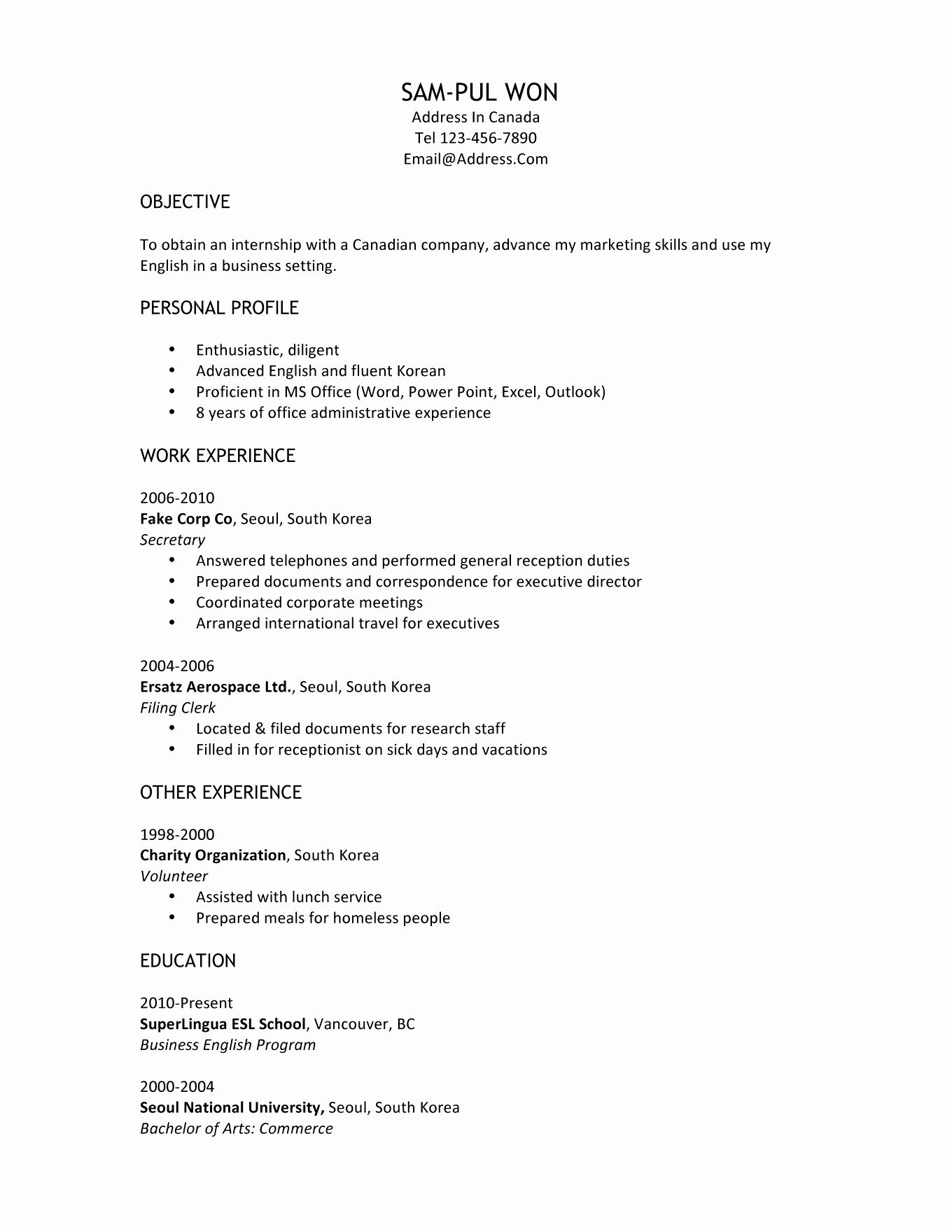 resume sle for canada inspirational resume sles canada targer golden ...