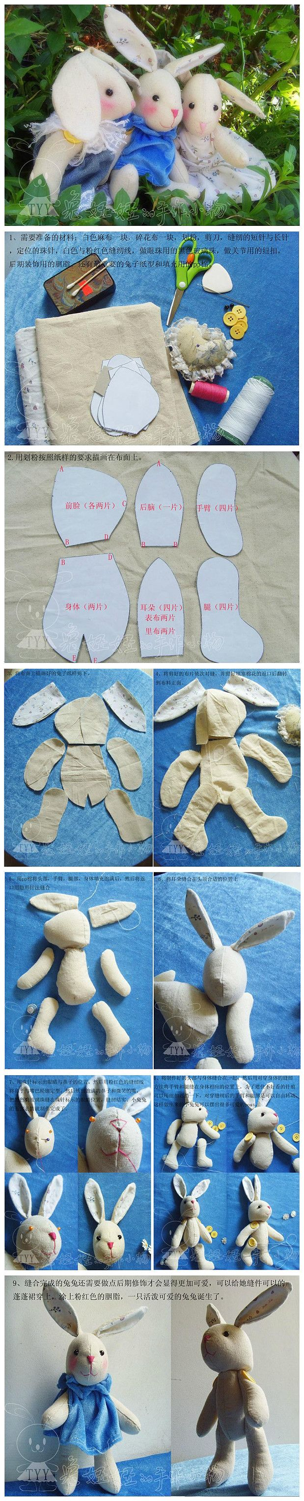 DIY Adorable Bunny Doll | Pinterest | süßer Hase, Hase und Schnittmuster
