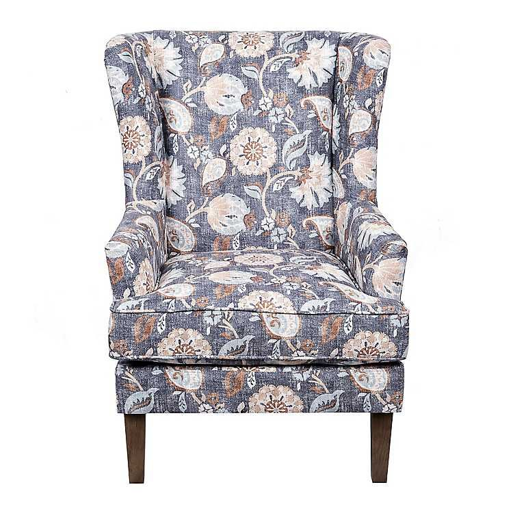 Incredible Product Details Blue Floral Wingback Accent Chair 2019 In Gamerscity Chair Design For Home Gamerscityorg
