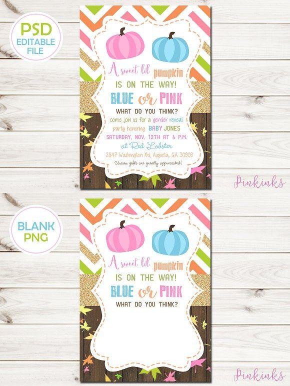 Gender Reveal Baby Shower Invite Invitation Templates - baby shower invite templates
