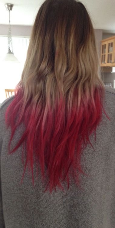 Dip Dyed Vampire Red Blonde Hair With Red Tips Dip Dye Hair