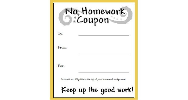 No Homework Coupons Homework, Classroom incentives and Activities - coupon template free printable