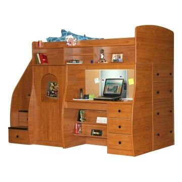 Play And Study Twin Loft With Chest And Stairway Nutmeg Www Hayneedle Com Loft Bed Bunk Beds With Stairs Bunk Beds