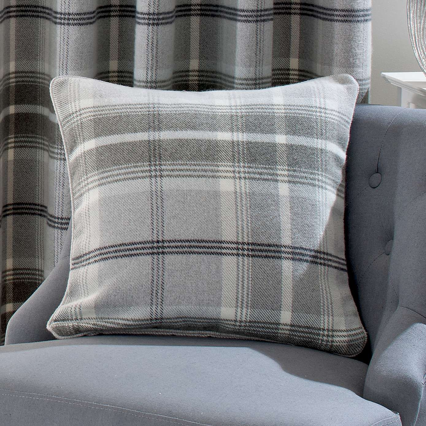 Dove Grey Highland Check Cushion Dunelm