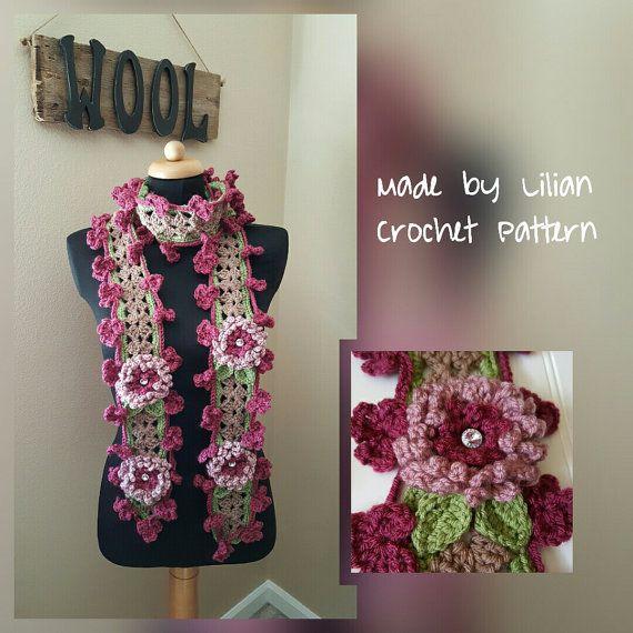 Whimsical Lariat Flower Scarf Crochet Pattern Gypsy Scarf Flower
