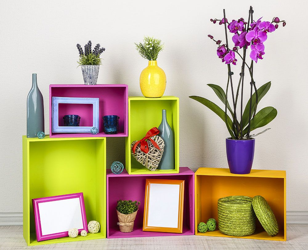 Lovely colorful shelves with many different home decor items ...
