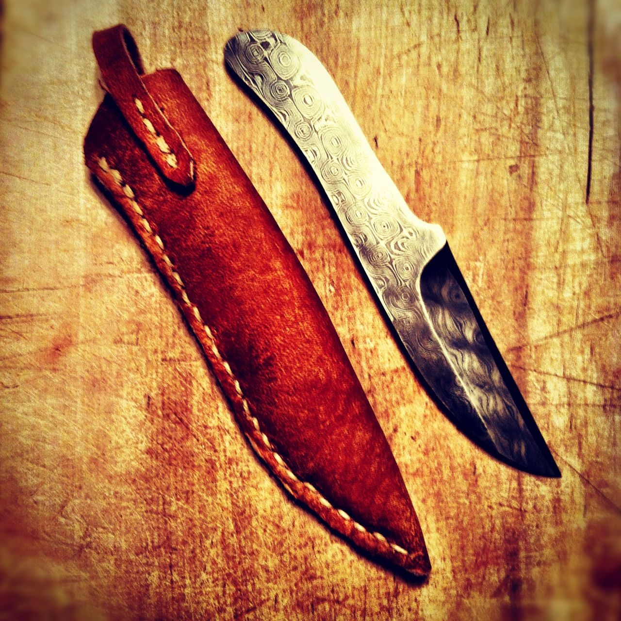 Custom damascus steel blade with sheath fashioned from vintage coach bag.