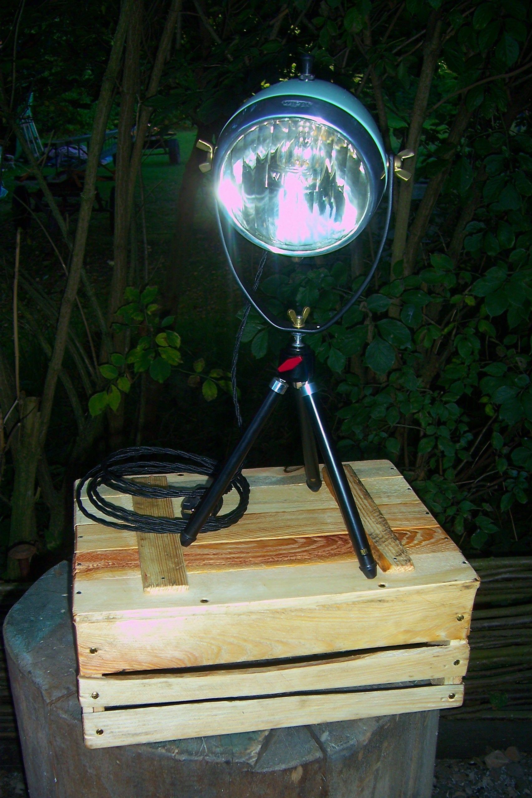 Motorrad Lampe Tripod Lamp Stehlampe Vintage Retro Shabby Art Deco