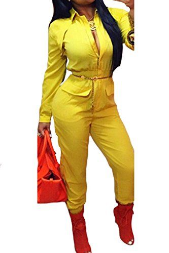 2ea197eb43b Womens Stylish Long Sleeve Zipper Turn Down Collar Capri Pant Jumpsuit  Overalls Medium Yellow    Be sure to check out this awesome product. (Note  Amazon ...