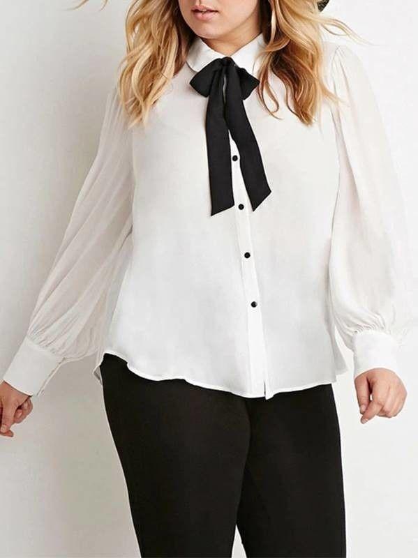 787dc8f74 Camisa com Laço Gravata Plus Size - Compre Online