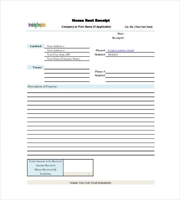 House Rent Receipt Sample 13 Rent Receipt Templates  Free Printable Word Excel & Pdf .