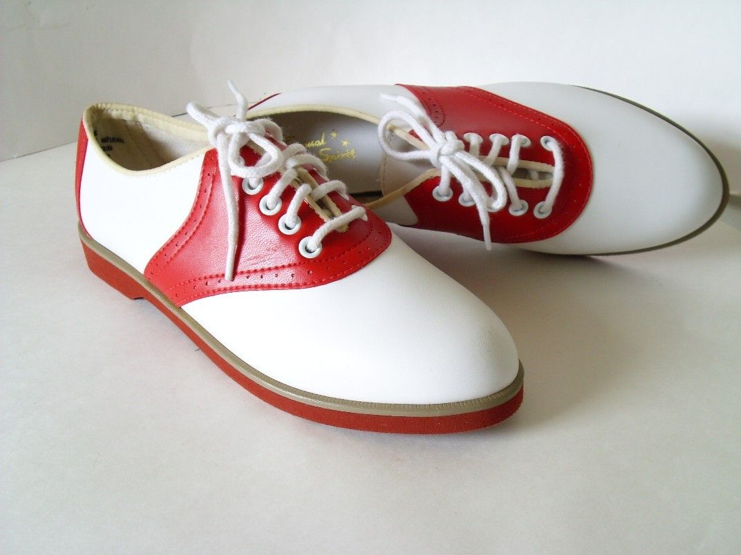 Red and White Saddle Shoes.I grew up