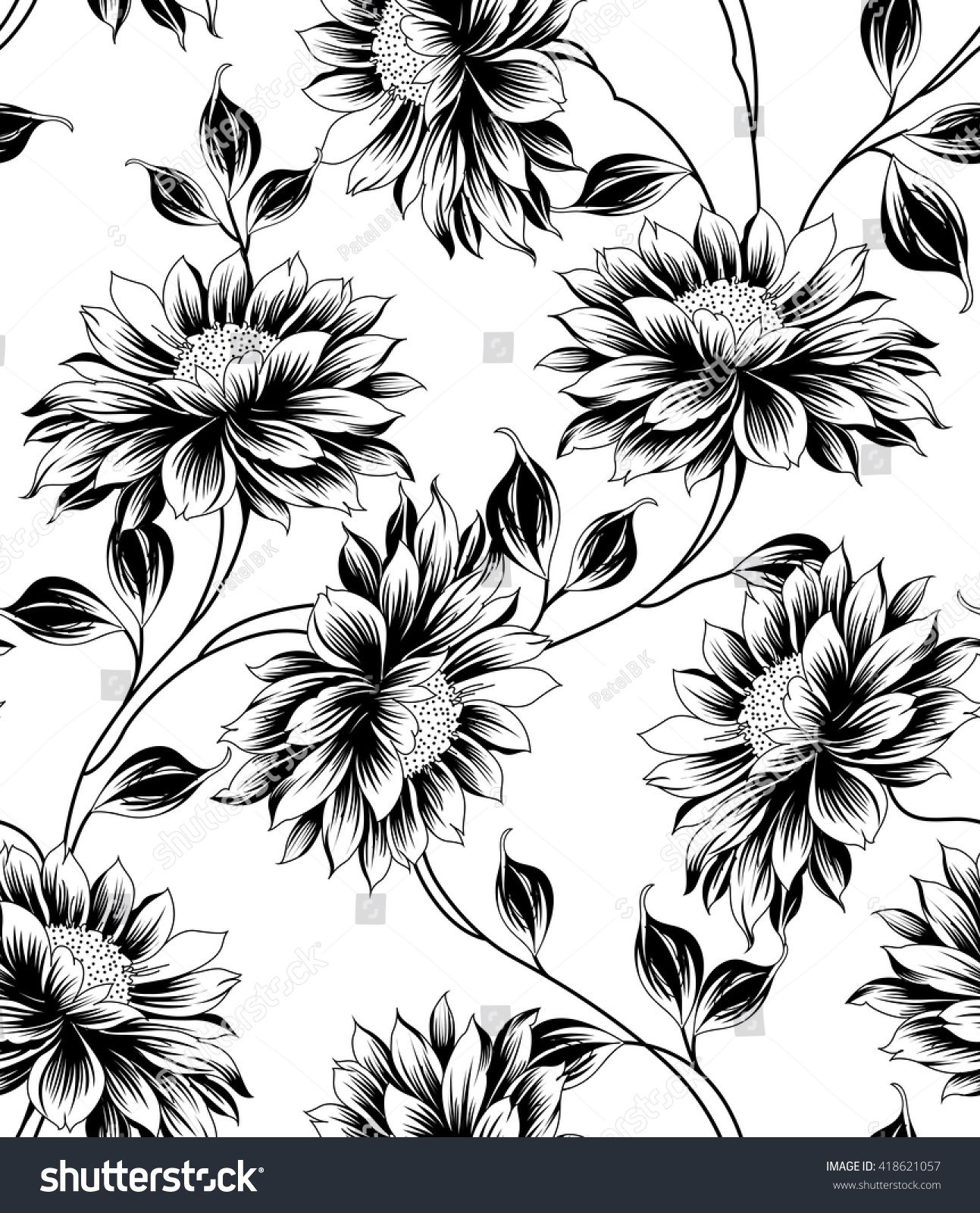Black And White Floral Pattern Flower Pattern Drawing Floral