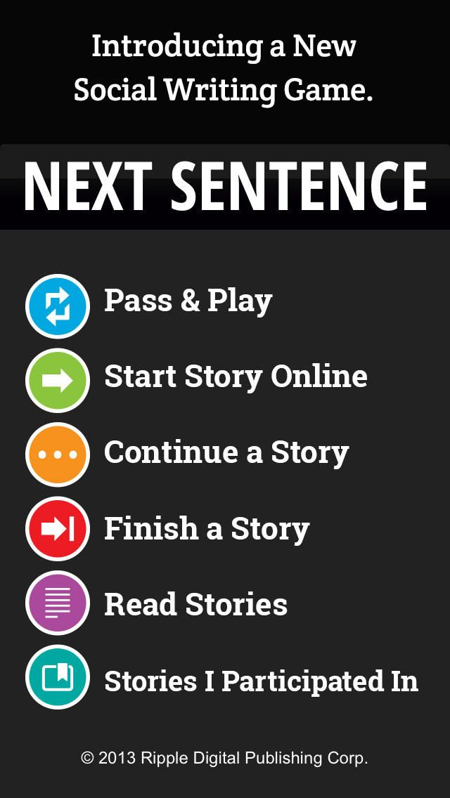Next Sentence Writing games, Sentences, Story titles