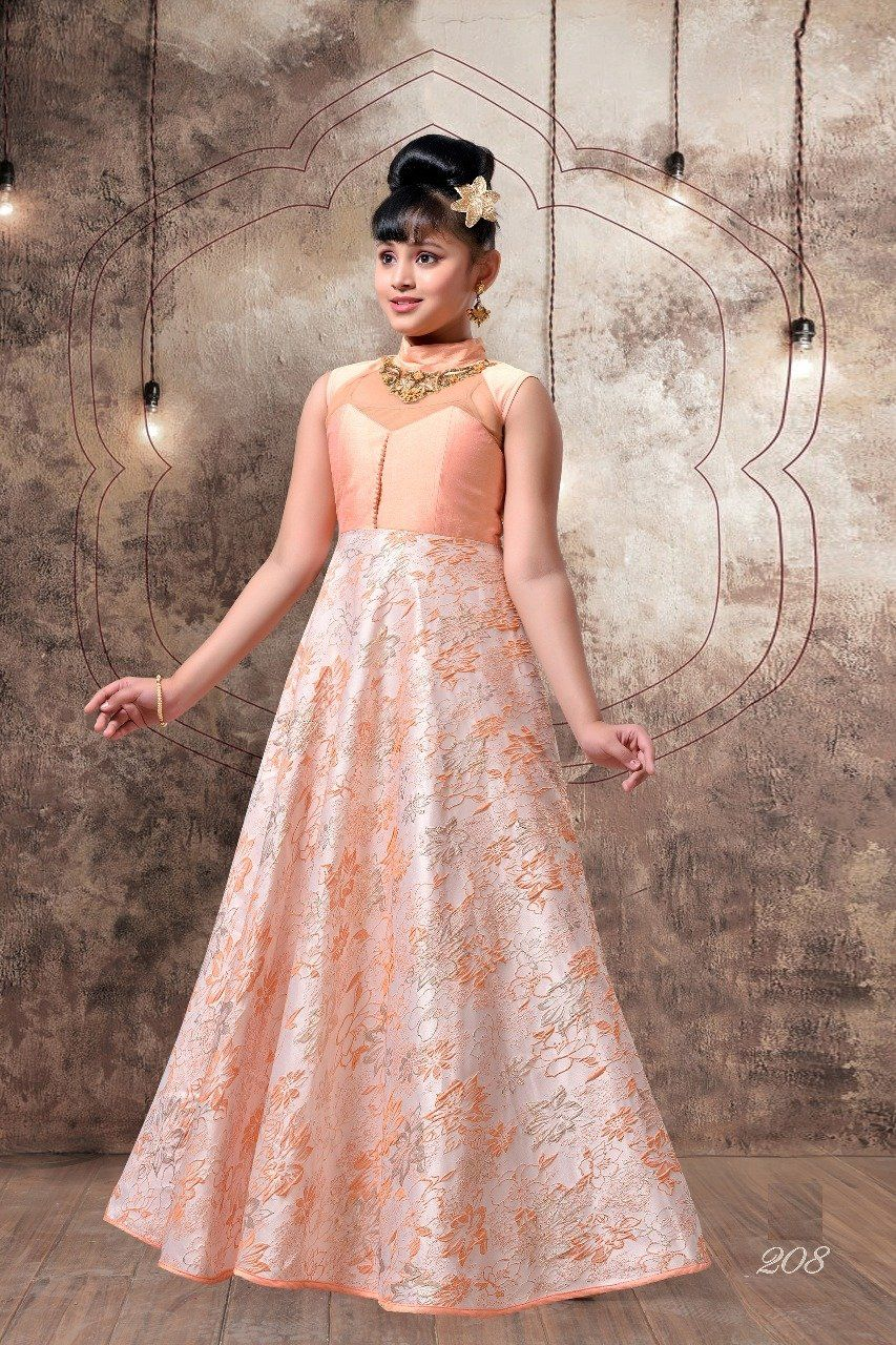 Adorning silk embroidered kids wear dresses in baby and mom