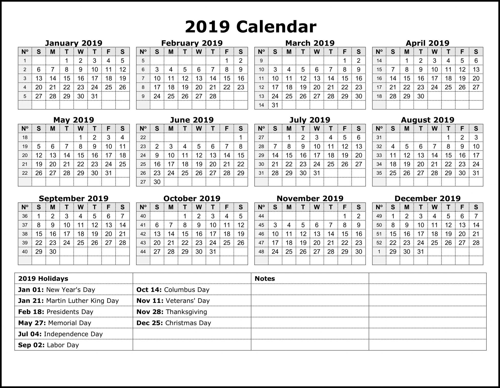 National Month Calendar 2019 National Holiday Calendar 2019 | 12 Month Calendar in One Page