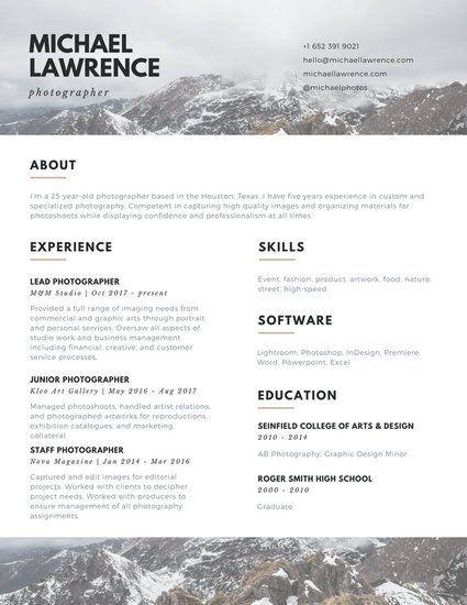 Brown and White Mountains Photographer Photo Resume CV Pinterest