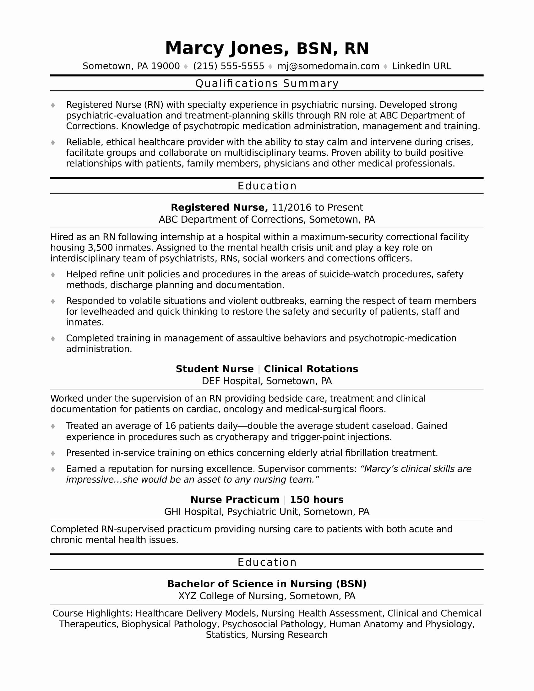 Nursing Student Resume Template Fresh Registered Nurse Rn Resume