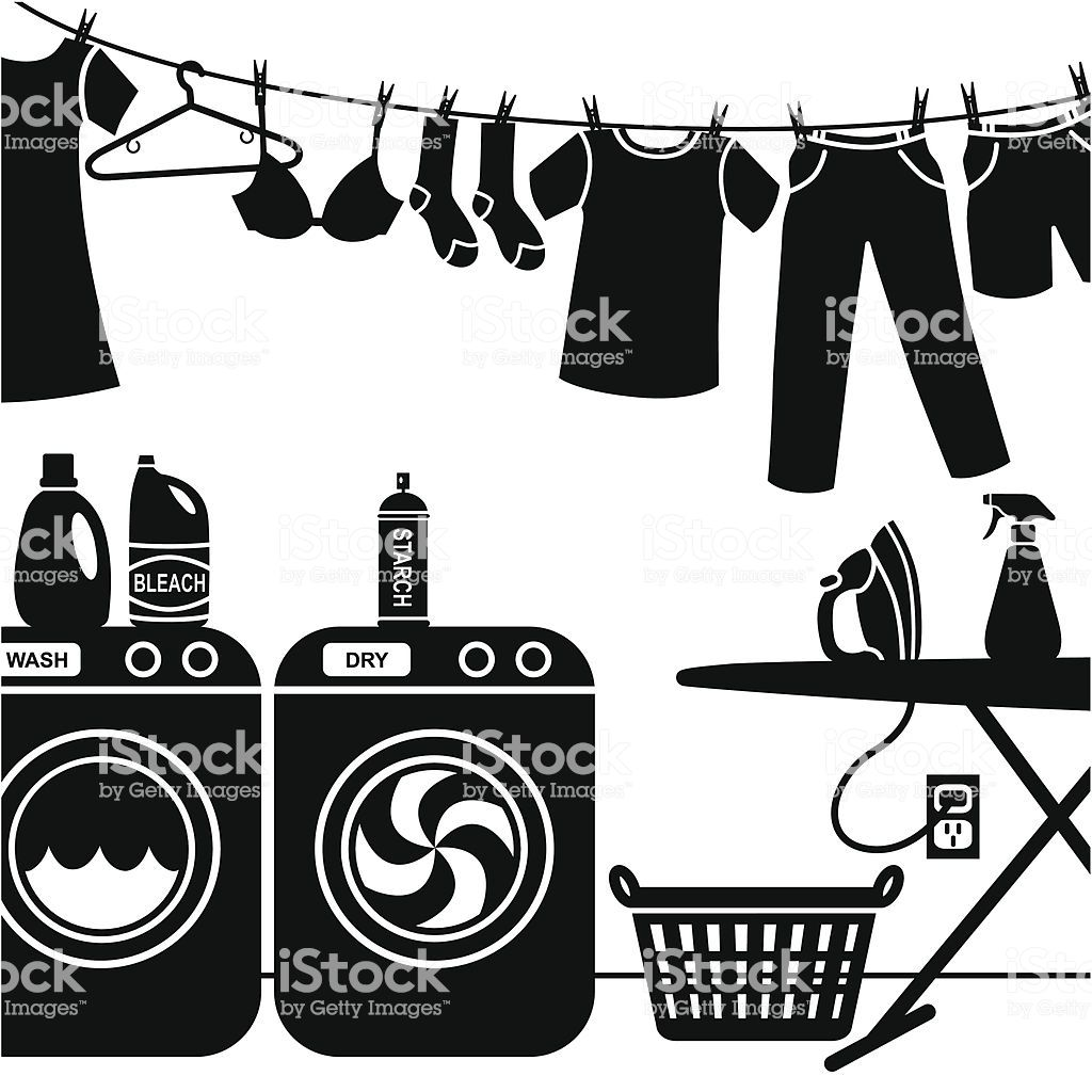 A vector illustration of a laundry room sew this please mom