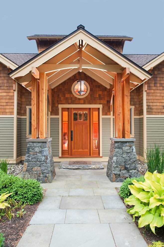 Craftsman Front Door Entry Craftsman With Wood Beam Front Porch Wood Beam Home