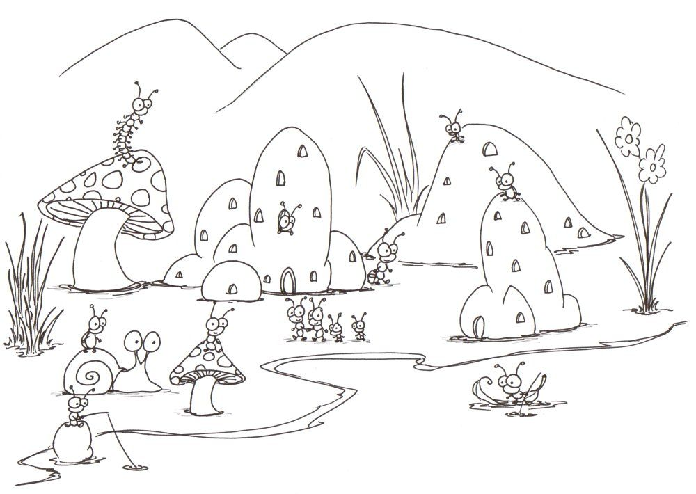 insect coloring pages | coloring pages a small bug town near a ...