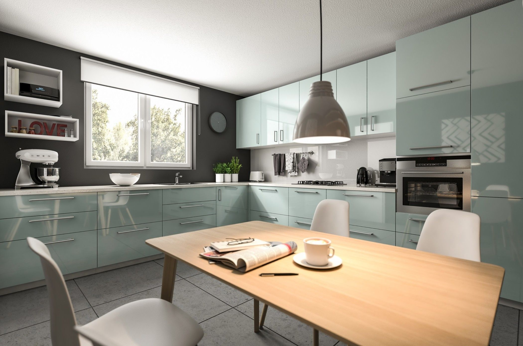 Küche modern einrichten mit Esstisch aus Holz Küchen