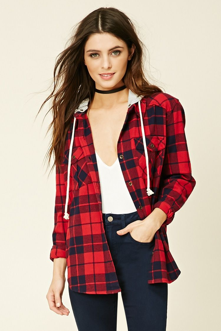 Flannel shirt outfits for women  Hooded Flannel Shirt  Tops    Forever  EU English