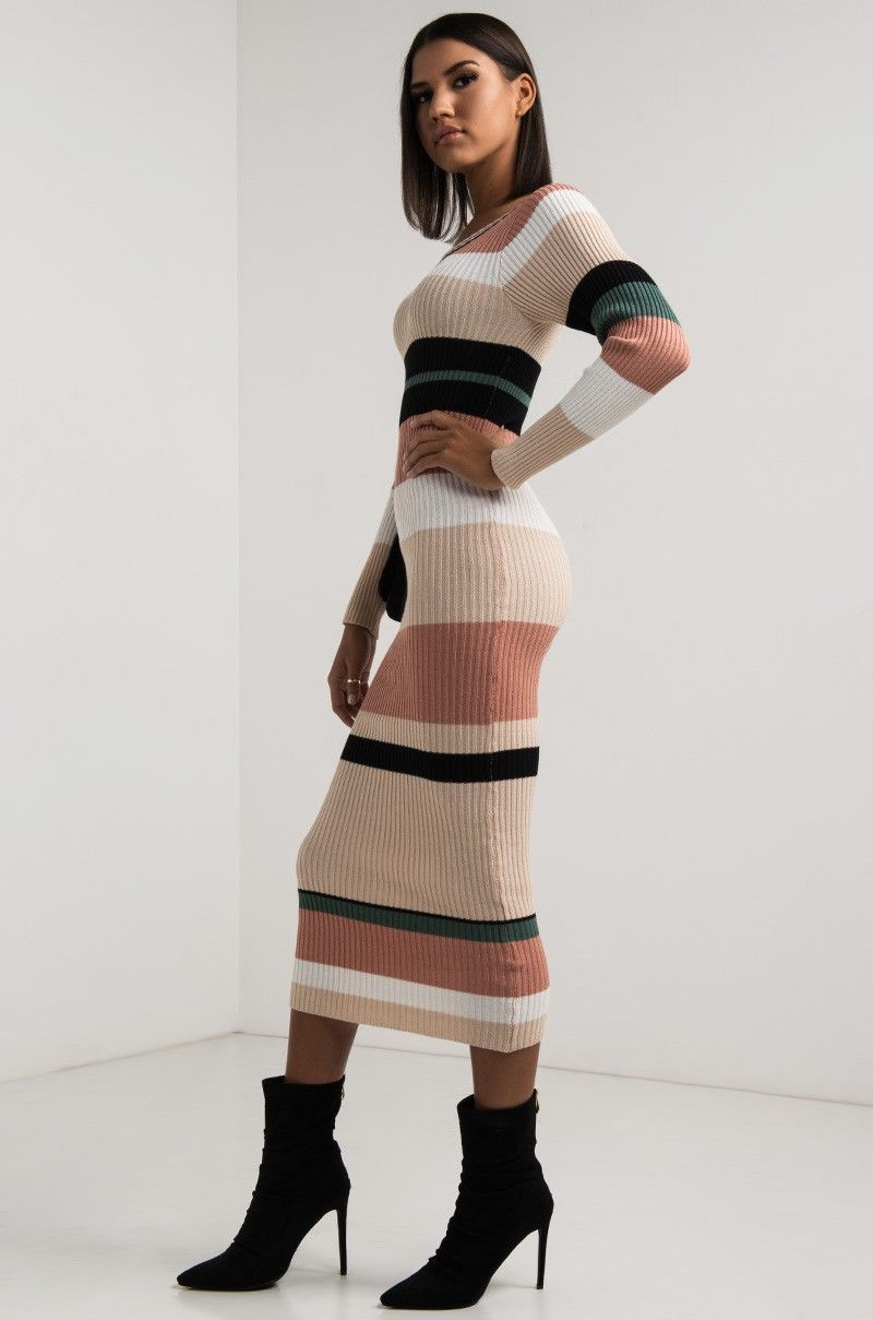 Side View Lets Connect Striped Maxi Sweater Dress in Multi | New ...