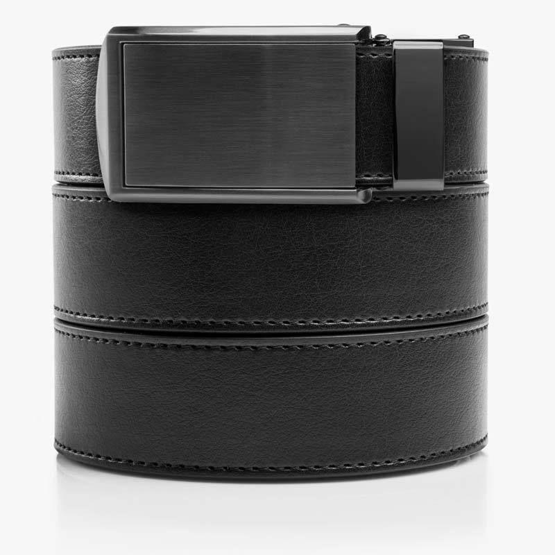 Slidebelts Men/'S Leather Ratchet Belt Black Leather With Black Buckle Vegan
