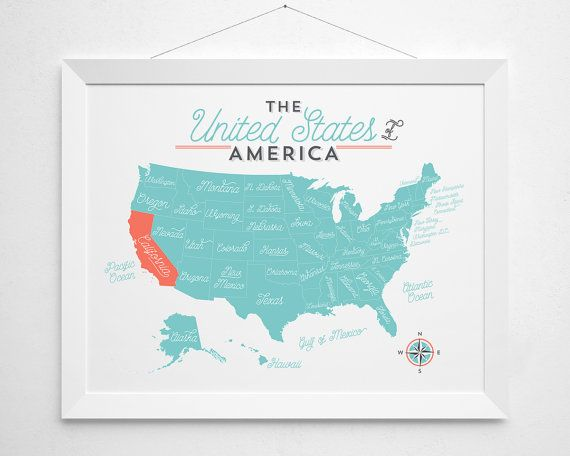 United States Map Print America state custom by BokehEverAfter