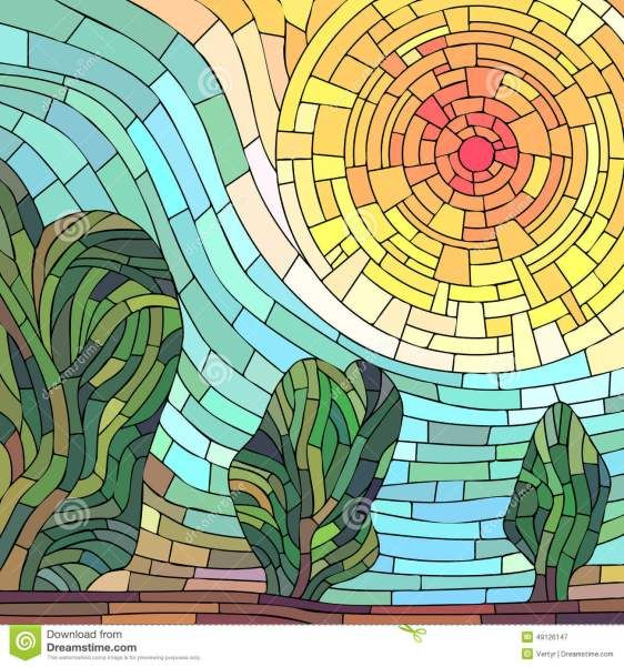 Flores en mosaico