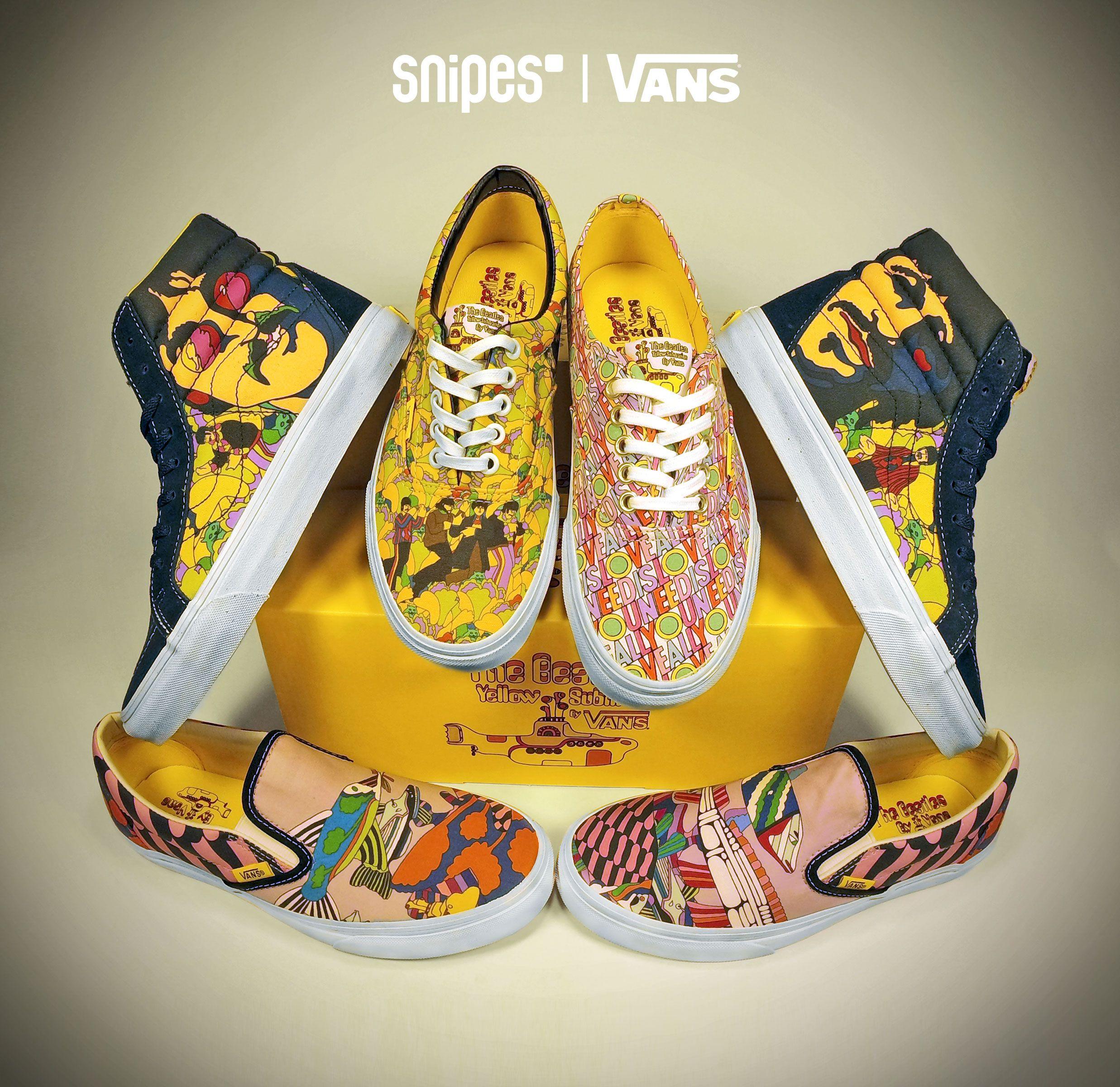 """VANS X Beatles! Vom Design ihres legendären Albums und Films inspiriert präsentieren sich die VANS Sneaker aus der """"Beatles Yellow Submarine Kollektion"""" mit farbenfrohen Grafikprints und der charakteristischen VANS Waffel-Sohle. Vom VANS Authentic, Slip-On, Era bis zum Old Skool Sk8-HI sind alle Modelle vertreten. Online only unter www.snipes.com/vans. #vans #beatles #snipes"""
