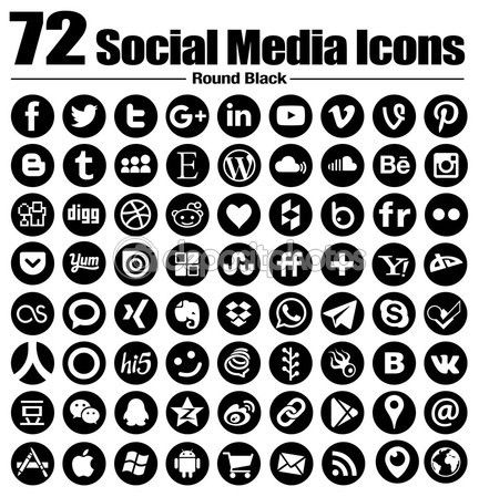 72 New Round Social Media Icons Vector Black And White Transparent Background The Mu Social Media Icons Vector Social Media Icons Social Media Icons Free