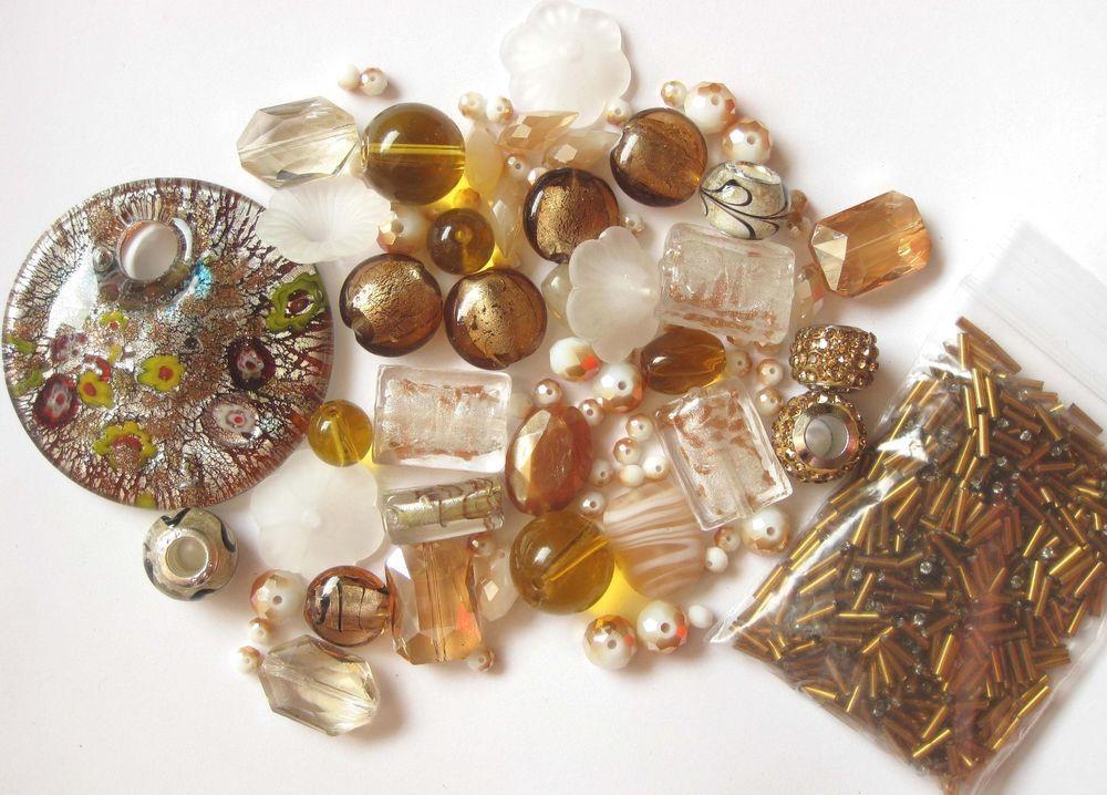 Beads Pendant 85+ Pcs Mixed White Golden Brown Topaz Murano Style Glass Acrylic   eBay