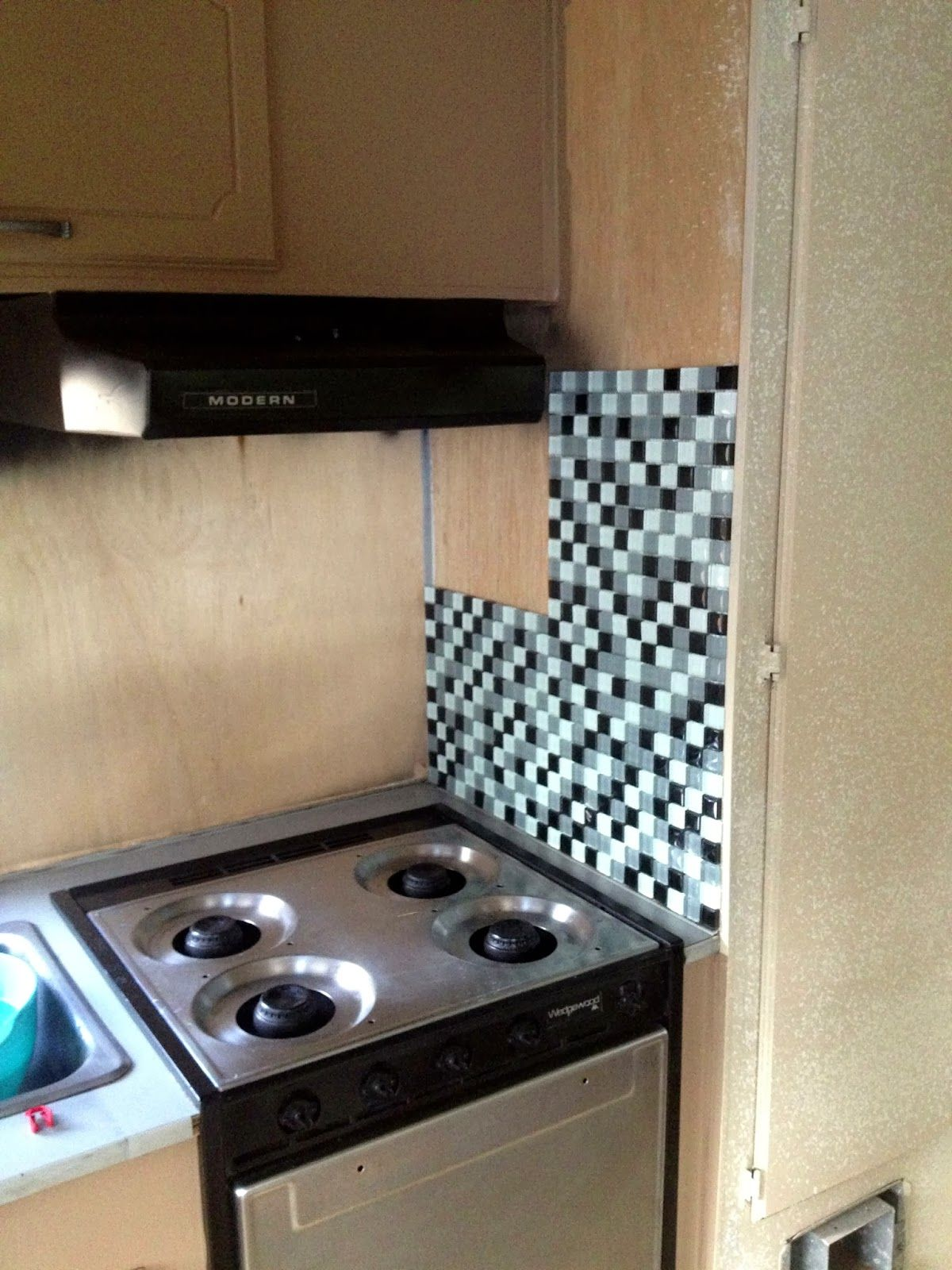 Rv propane oven and stove  For tile, apply with adhesive on