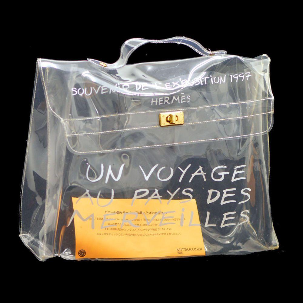 458aad84c0e6 Auth HERMES KELLY VINYL Beach Hand Bag SOUVENIR DE L EXPOSITION 1997  TG00216 in Clothing
