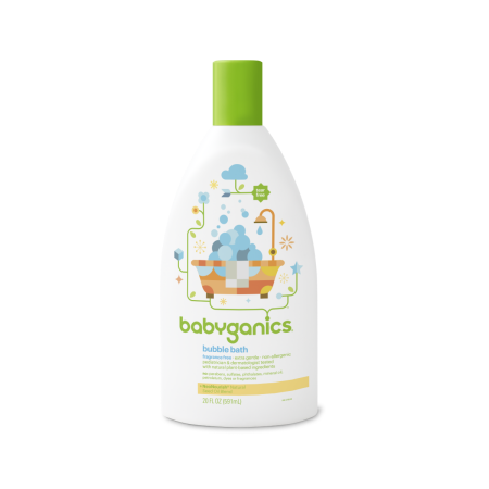 Babyganics Bubble Bath Fragrance Free 20 Oz Bubbles Fragrance Bottle