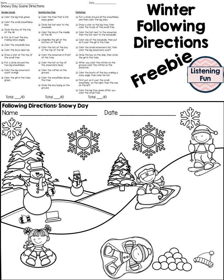 Free following directions activity for winter. Speech