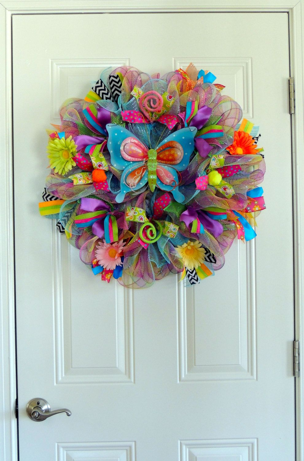 Items Similar To Blue Butterfly Spring Wreath Deco Mesh Summer Wreath Wall  Door Hanger Whimsical Door Decoration Front Door Wreaths Home Decor On Etsy