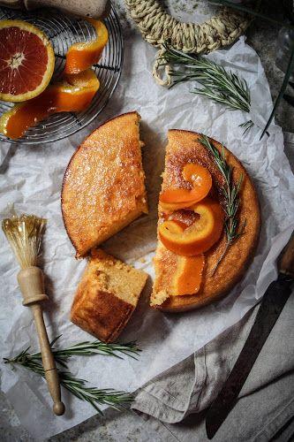 whole blood orange semoiina cake with rosemary