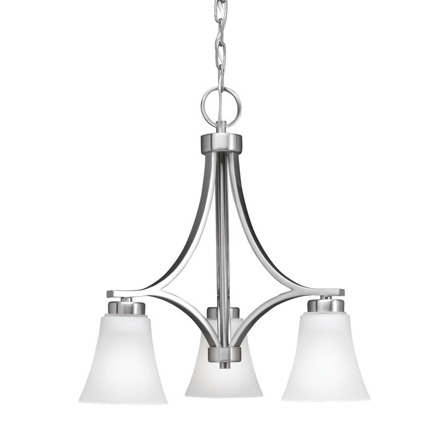 Shop Portfolio 3 Light Lyndsay Brushed Nickel Chandelier At Lowes
