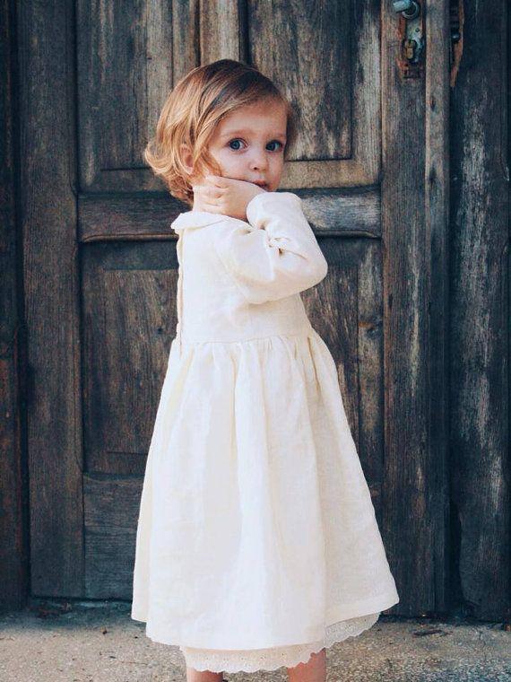 Madchen Kleid Leinen Leinen Madchenkleid Vintage Stil Heiraten Am