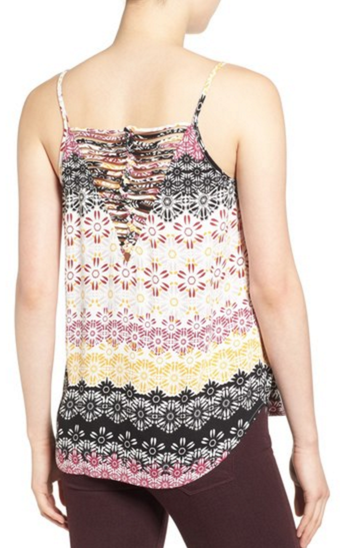 Pink, yellow, and black floral cage-back tank