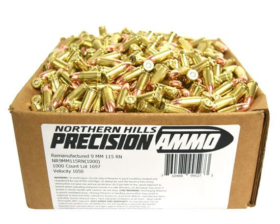 Northern Hills Precision Ammo 9mm 115 Grain RN 1000 Count