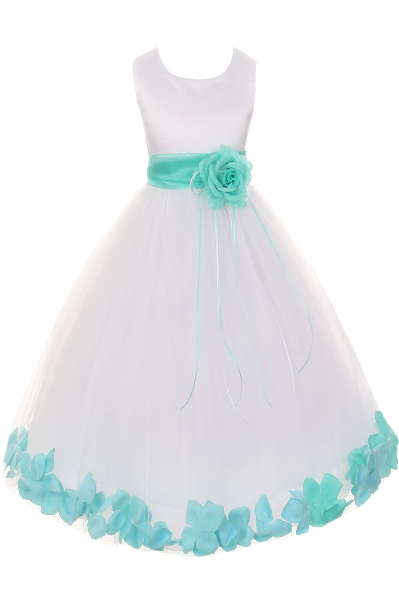 81ccf52f7a Satin   Tulle Floating Flower Petals Dress with Sash   Flower Petal Color  Choices (Girls 2T - Size 14)