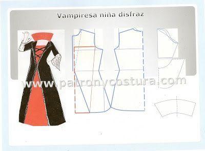 Patrón y costura nos muestra cómo realizar el patrón para un disfraz de vampiresa. Se acerca la fiesta de Halloween, así que vamos a realizar este bonito modelo para que disfruten nuestros hijos. vamp